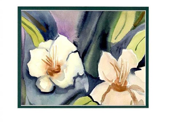 White Flowers Greeting Card featuring the painting White Flowers by Janet Doggett