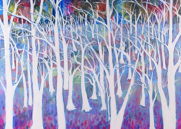 White Greeting Card featuring the painting White Forest by Rollin Kocsis