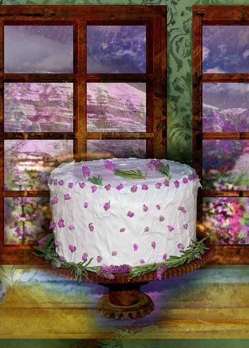 Cake Greeting Card featuring the digital art White Frosted Cake by Mary Ogle and Miki Klocke
