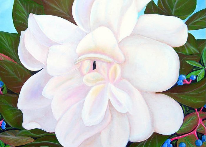 Floral Greeting Card featuring the painting White Gardenia With Virginia Creepers by Kathern Welsh