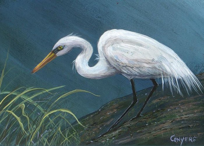 Heron Greeting Card featuring the painting White Heron by Peggy Conyers