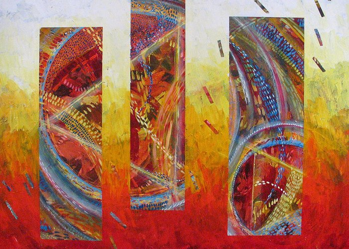Abstract Greeting Card featuring the painting White Hot by Rollin Kocsis