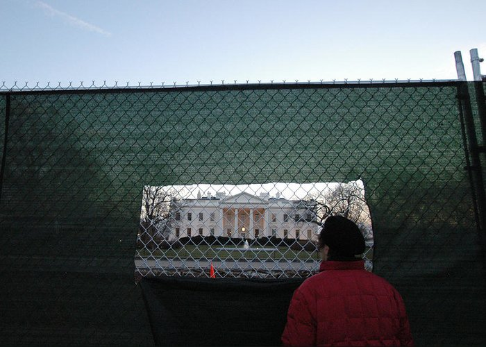 Washington Dc Greeting Card featuring the photograph White House Fence Washington Dc by Thomas Michael Corcoran