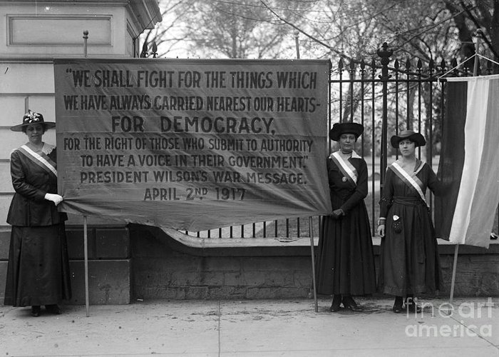 1917 Greeting Card featuring the photograph White House: Suffragettes by Granger