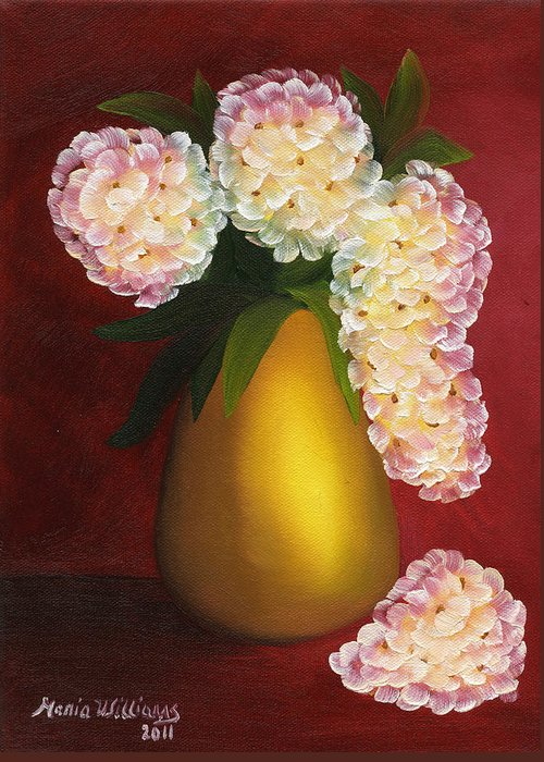 White Hydrangeas Greeting Card featuring the painting White Hydrangeas In A Golden Vase by Maria Williams