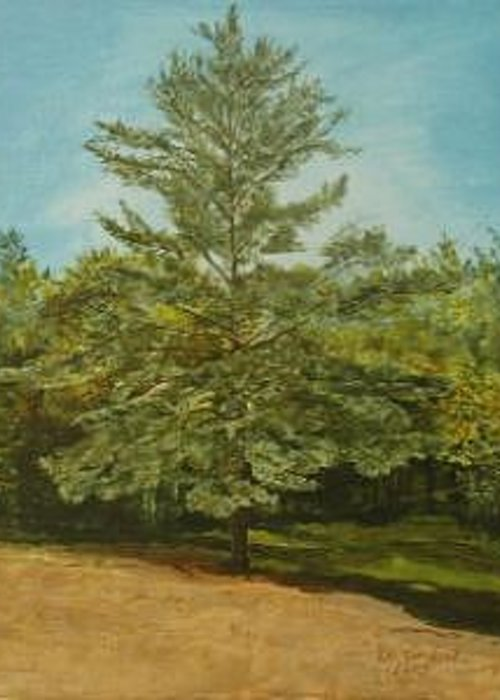 Pine Tree Greeting Card featuring the painting White Lake by Leah Tomaino