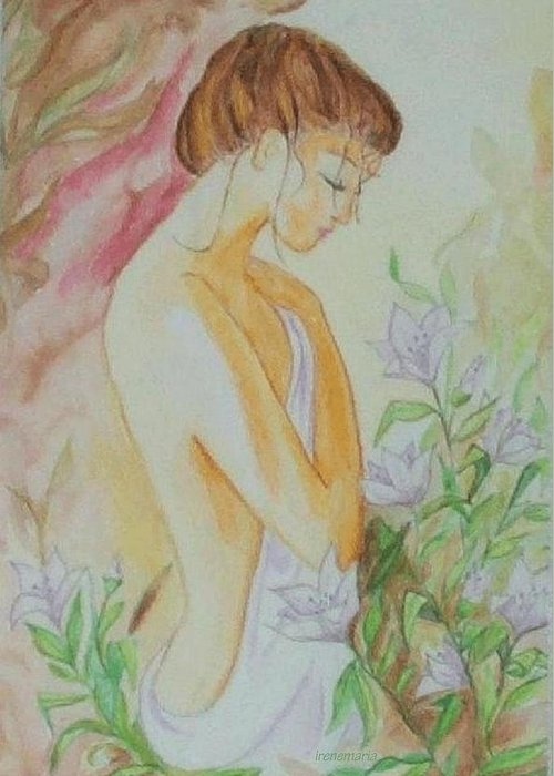 Lillies After The Bath Greeting Card featuring the painting White Lillies by Irenemaria Amoroso
