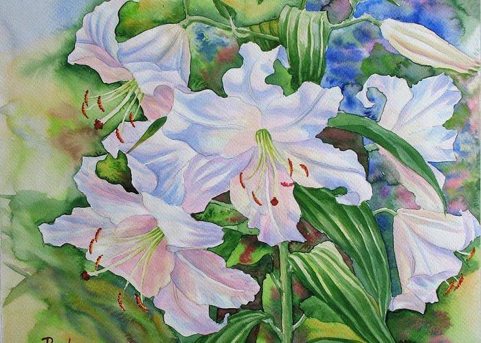 Watercolor Greeting Card featuring the painting White Lily. 2007 by Natalia Piacheva