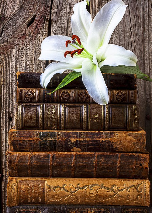 White Lily Greeting Card featuring the photograph White Lily On Antique Books by Garry Gay