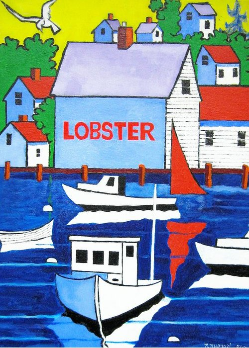 Lobster Shack Greeting Card featuring the painting White Lobster Shack by Nicholas Martori