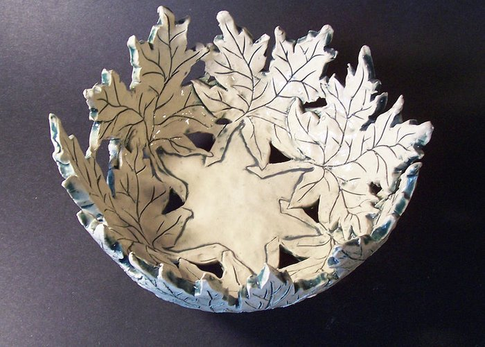 Clay Greeting Card featuring the ceramic art White Maple Leaf Bowl by Carolyn Coffey Wallace