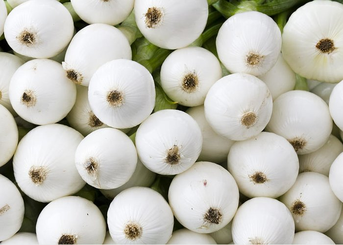 Fruit Greeting Card featuring the photograph White Onions by John Trax