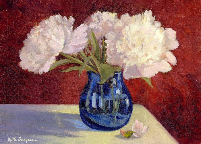 Peonies Greeting Card featuring the painting White Peonies by Keith Burgess