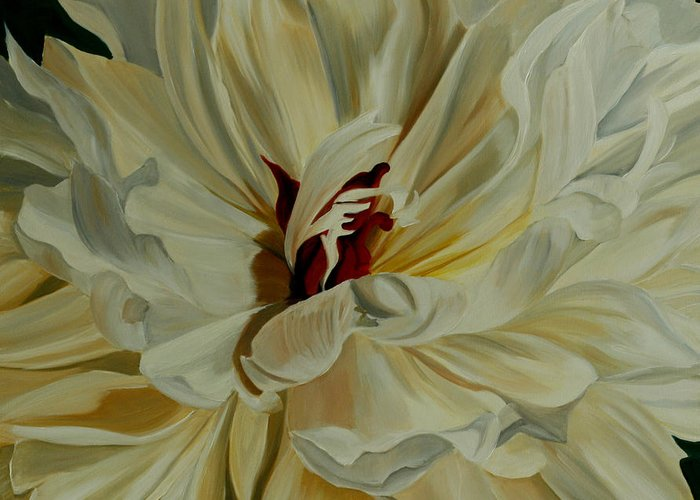 White Flower Greeting Card featuring the painting White Peony by Julie Pflanzer