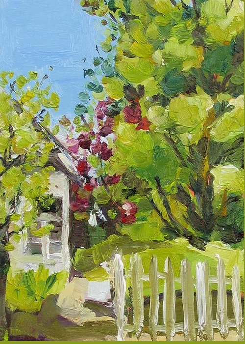 White Picket Fence Greeting Card featuring the painting White Picket Fence by Coral May Barclay