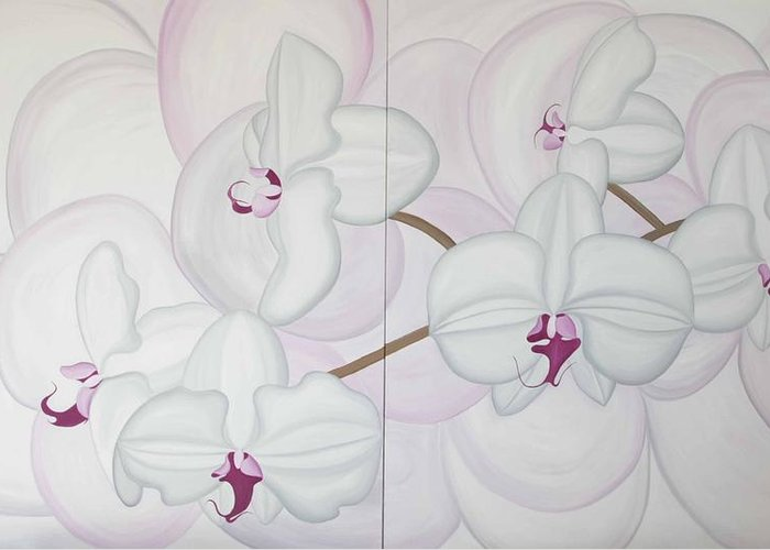 Marinella Owens Greeting Card featuring the painting White Pink Orchide by Marinella Owens