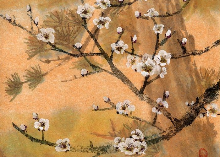 White Plum Blossoms Greeting Card featuring the painting White Plum Blossoms With Pine Tree by Eileen Fong