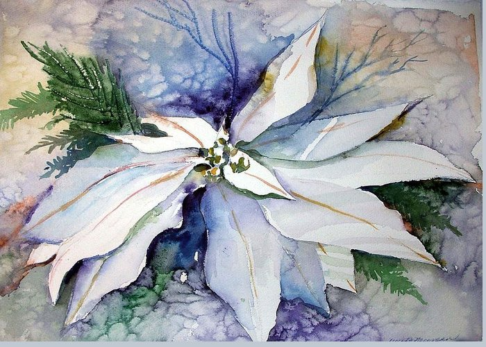 Floral Greeting Card featuring the painting White Poinsettia by Mindy Newman