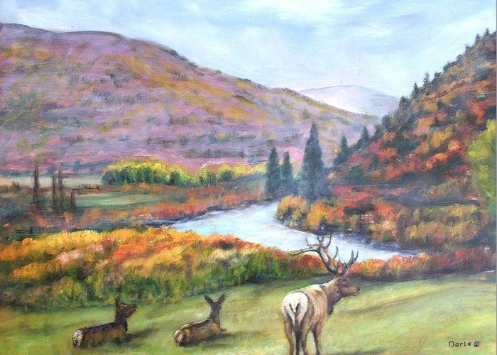 Landscape Greeting Card featuring the painting White River by Darla Joy Johnson
