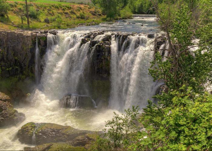 2011 Greeting Card featuring the photograph White River Falls by Connie Cooper-Edwards