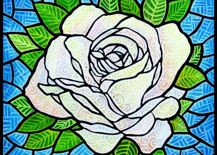 White Greeting Card featuring the painting White Rose by Jim Harris