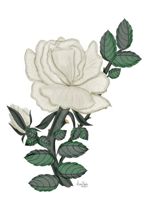 White Rose Greeting Card featuring the painting White Rose On A Winter Day by Anne Norskog