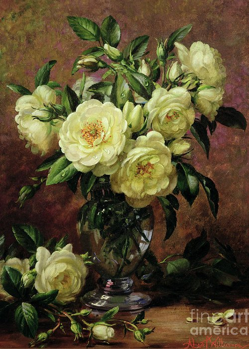 Rose; Still Life; Flower; Arrangement; Vase; Floral; Sentimental; Symbolic; Roses; White Roses; White Roses On The Floor; White Petals On The Floor Greeting Card featuring the painting White Roses - A Gift From The Heart by Albert Williams