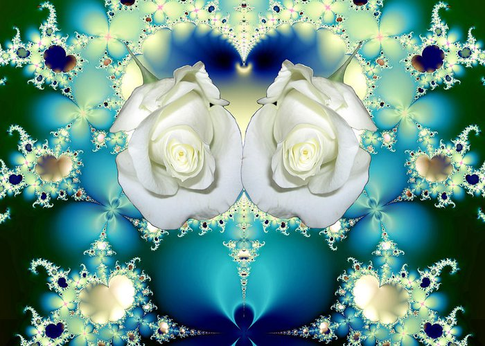 White Roses And Blue Satin Bouquet Fractal Greeting Card featuring the mixed media White Roses And Blue Satin Bouquet Fractal Abstract by Rose Santuci-Sofranko