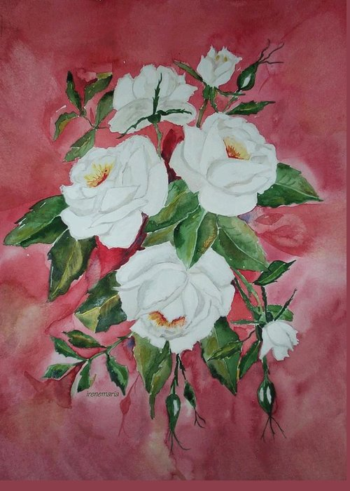 Roses Flowers Greeting Card featuring the painting White Roses by Irenemaria Amoroso
