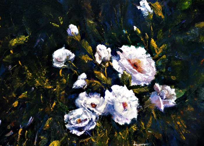 Flowers Greeting Card featuring the painting White Roses by Jimmie Trotter