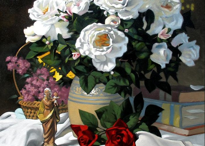 Roses Greeting Card featuring the painting White Roses by Kevin Lawrence Leveque