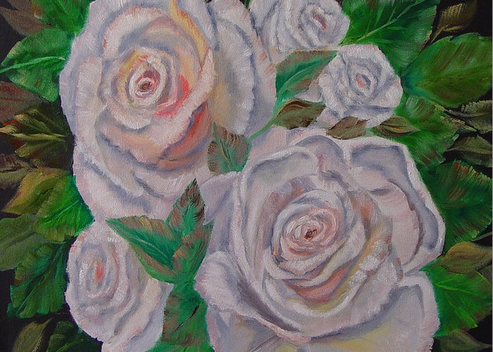 Roses Greeting Card featuring the painting White Roses by Quwatha Valentine