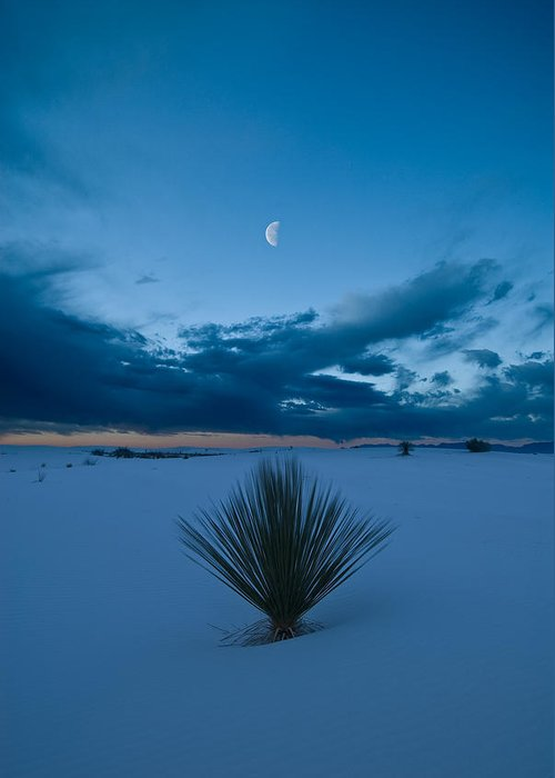 Blue Greeting Card featuring the photograph White Sands Moonrise by Steve Gadomski