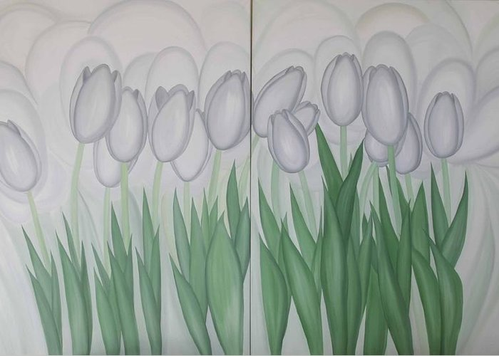 Marinella Owens Greeting Card featuring the painting White Tulips by Marinella Owens