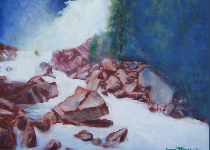 Landscape Greeting Card featuring the painting White Water And Solid Rock by Howard Stroman