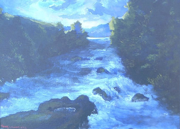 Water Greeting Card featuring the painting White Water by Curt Curt