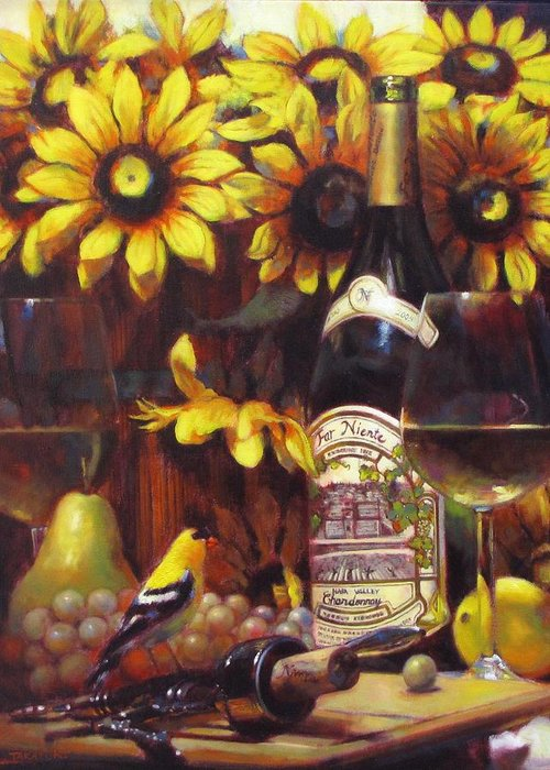 Wine Paintings Greeting Card featuring the painting White Wine And Gold Finch With Sun Flower by Takayuki Harada