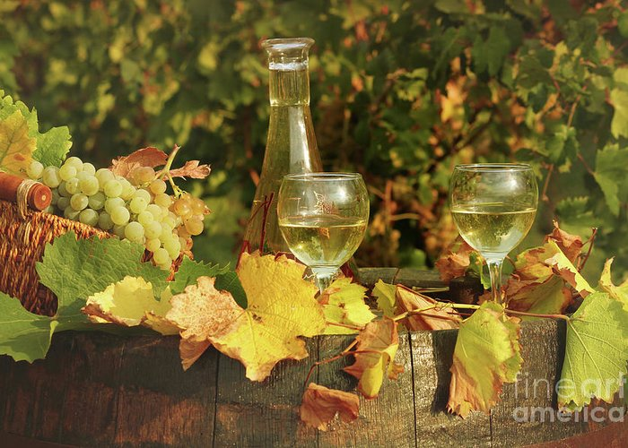 Wine Greeting Card featuring the photograph White Wine And Grape In Vineyard by Goce Risteski