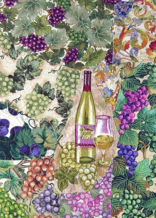 Wine Greeting Card featuring the tapestry - textile White Wine by Loretta Alvarado