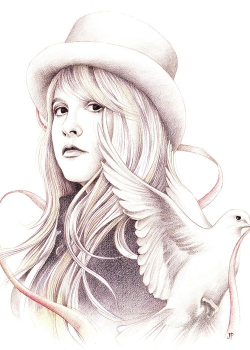Stevie Nicks Greeting Card featuring the drawing White Winged Dove by Johanna Pieterman