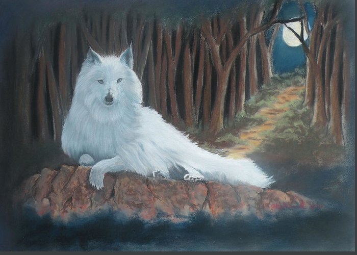 Wildlife Greeting Card featuring the pastel White Wolf by Charles Hubbard