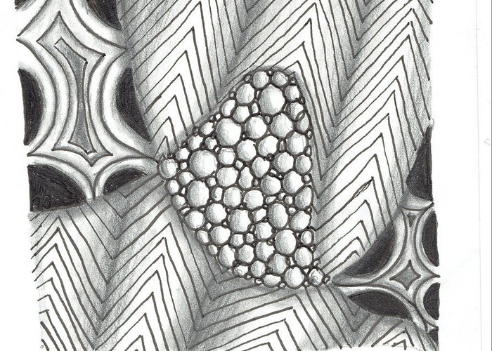 Zentangle Greeting Card featuring the mixed media White Zen 19 by Kitty Perkins