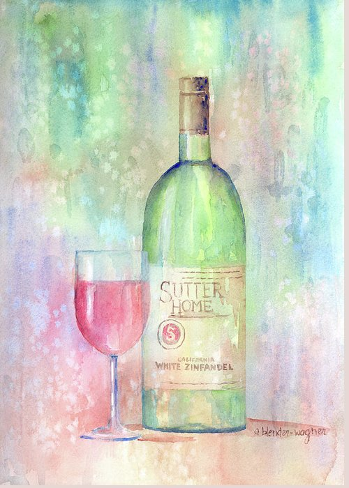 Wine Greeting Card featuring the painting White Zinfandel by Arline Wagner
