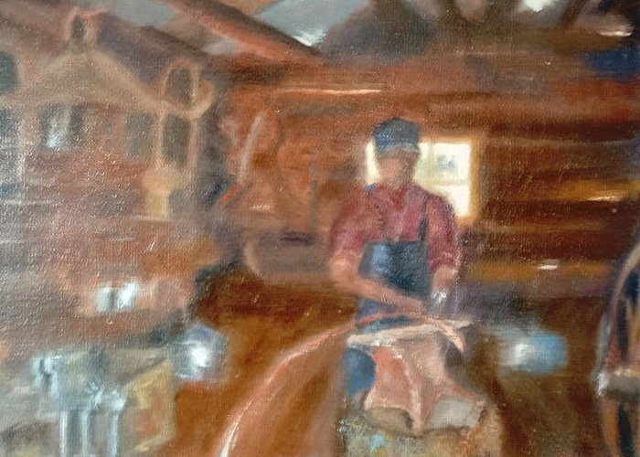 Blacksmith Shop Greeting Card featuring the painting Whitehall Nastalga by Bryan Alexander