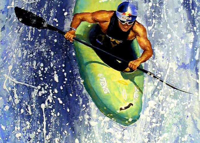 Kayaker Greeting Card featuring the painting Whitewater Kayaker by Lynee Sapere