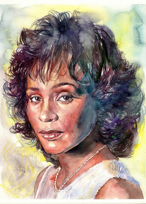 Whitney Greeting Card featuring the painting Whitney Houston Portrait by Suzann's Art