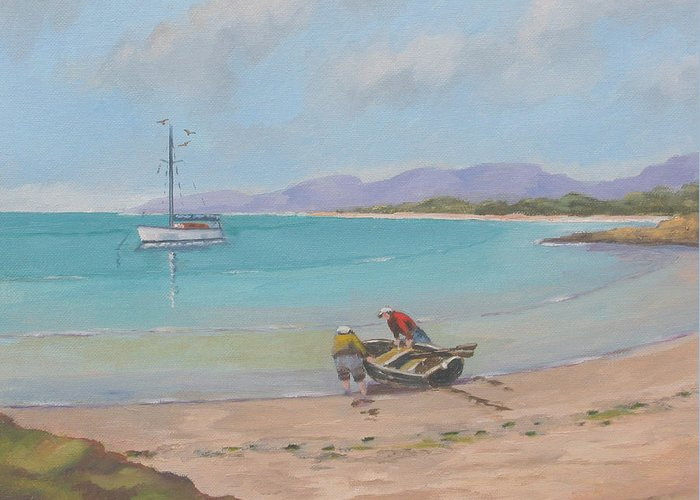 Seascape Greeting Card featuring the painting Whitsunday Sailors by Murray McLeod