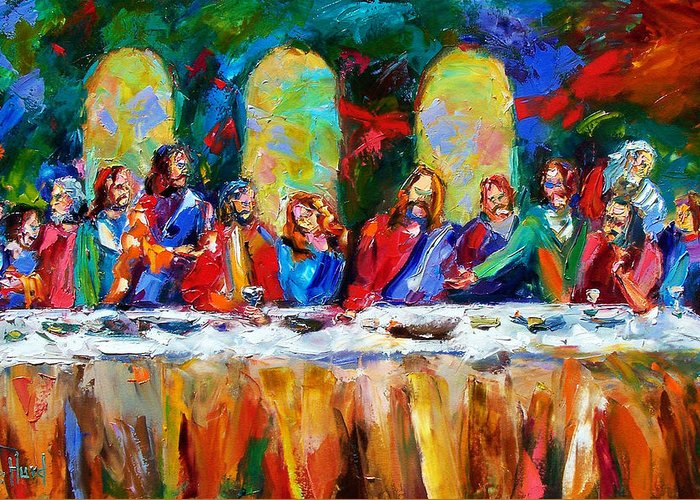 Last Supper Greeting Card featuring the painting Who Among Us by Debra Hurd