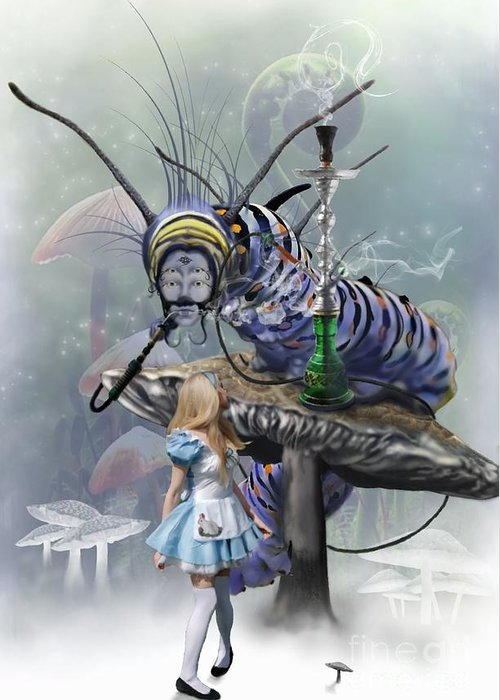 Alice Greeting Card featuring the digital art Who Are You by Crispin Delgado