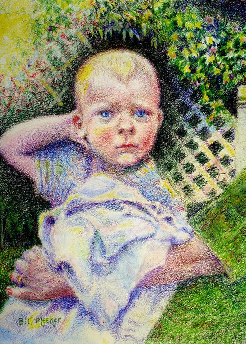 Child Portrait Greeting Card featuring the painting Who Dat Gammie by Bill Meeker
